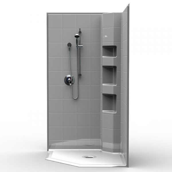 Multi-Piece Barrier Free 42″ x 42″ x 77 3/4″ Shower | Beveled Threshold - On The Mend Medical Supplies & Equipment